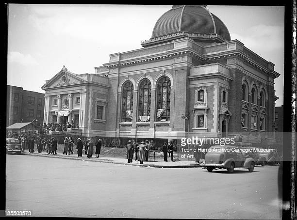 Exterior of Ebenezer AME Church with banner reading 'Welcome AME Conference ' Detroit Michigan May 1940