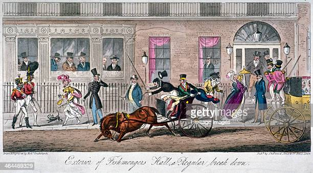 'Exterior of Fishmongers Hall a Regular break down' 1824 A scene in front of Crockford's club in St James's Street Members look from the windows at a...