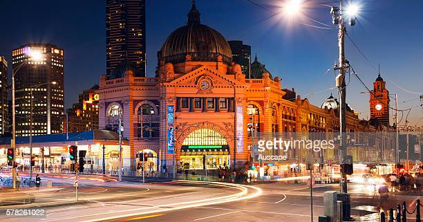 Exterior of Flinders Street Station at night on the corner of Flinders and Swanston Streets The result of a design competition the station was...