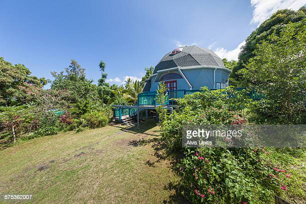 Exterior of geodesic home in South Kona, Hawaii