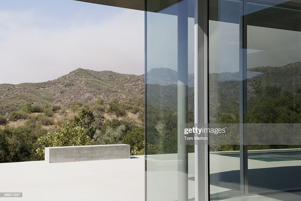 Exterior of glass walls of modern house