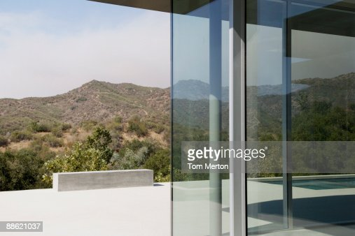 Exterior Of Glass Walls Of Modern House Stock Photo Getty Images