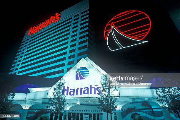 Exterior of Harrah's Gambling Casino at night in Atlantic City NJ