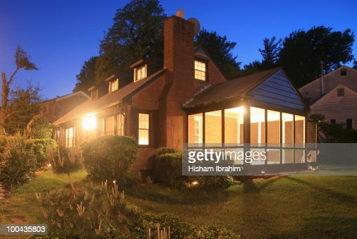 Exterior of house and Lawn at dusk-Arlington, VA
