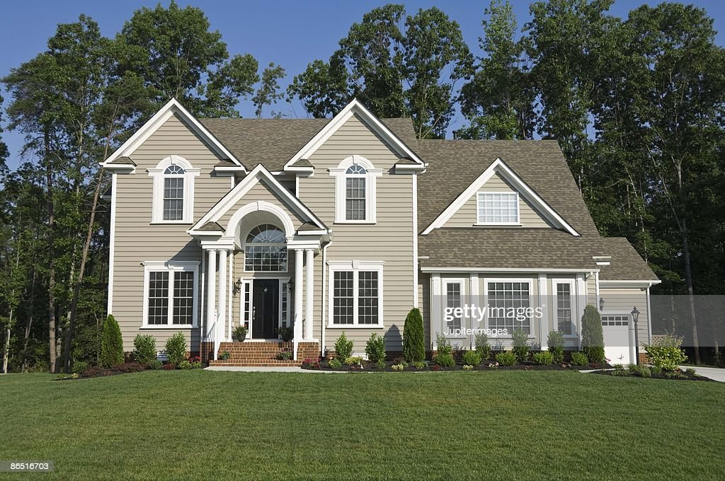 Exterior of house in suburbs : Stock Photo