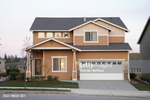 Exterior of house, sunset : Stock Photo