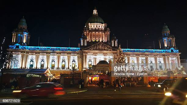 Exterior Of Illuminated Belfast City Hall During Christmas