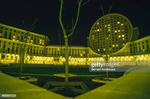 Exterior of Les Arenes de Picasso near Paris Seen at Night