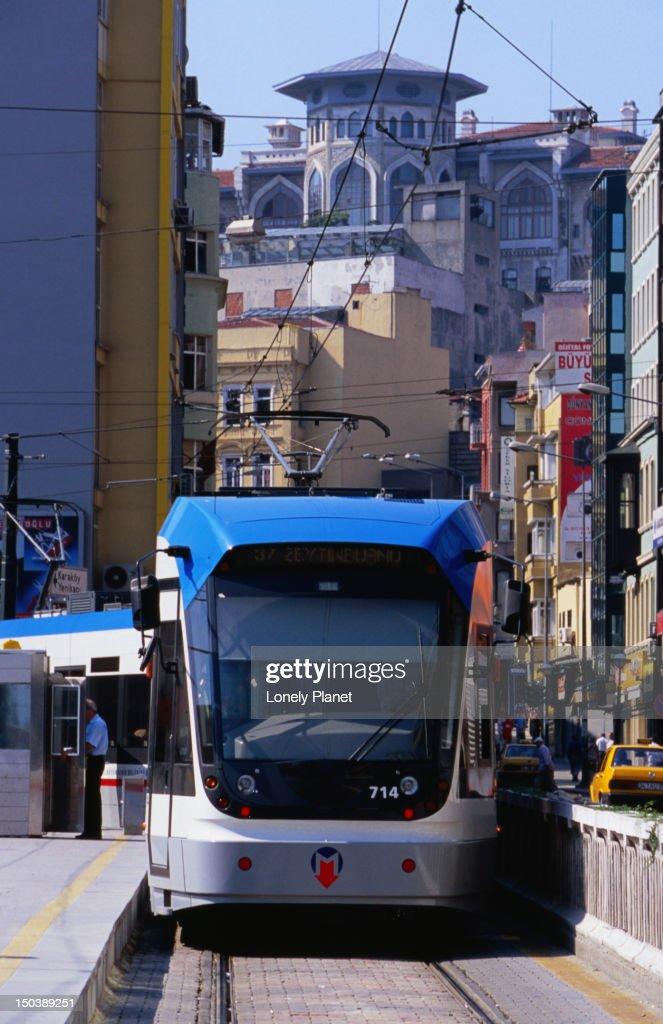 Exterior of light rail tram. : Stock Photo