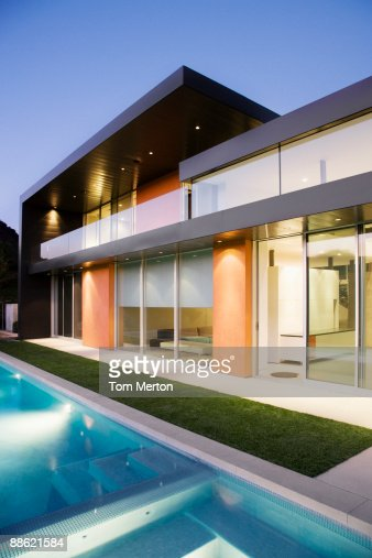 exterior of modern house swimming pool stock photo getty