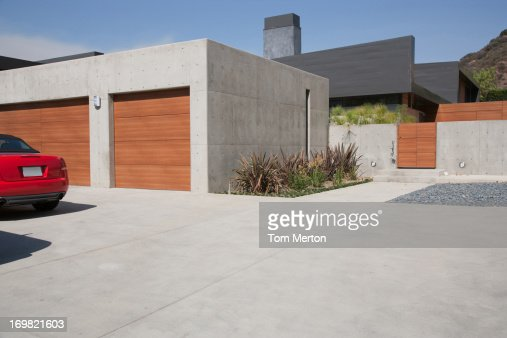 Exterior of modern twocar garage stock photo getty images for Multi car garage