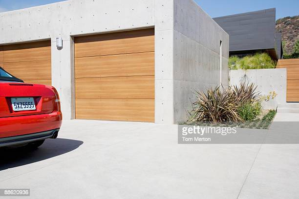 Exterior of modern two-car garage
