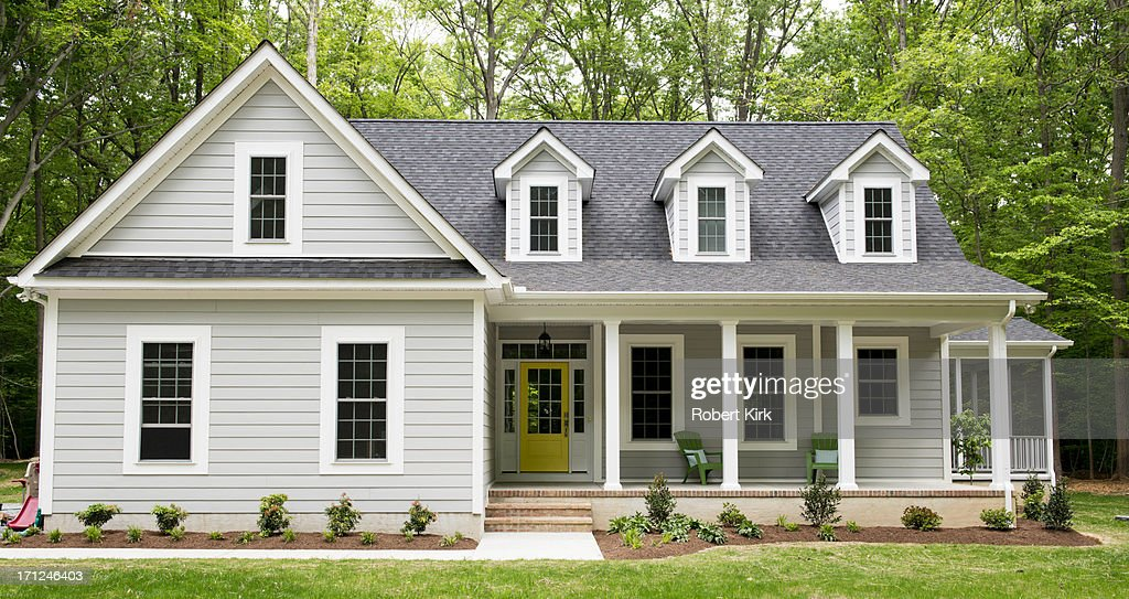 Exterior of new suburban house stock photo getty images for Exterior house images