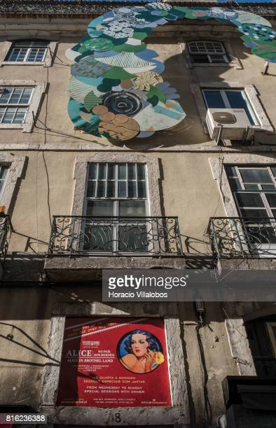 Exterior of 'Pensao Amor' on July 14 2017 in Lisbon Portugal 'Pensao Amor' used to be a five floors brothel in Cais do Sodre where prostitutes rented...