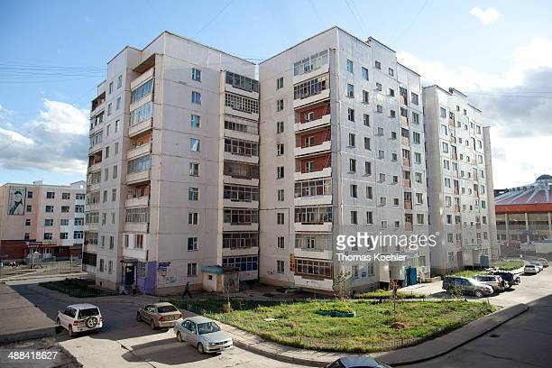 Exterior of prefabricated concrete apartment blocks on August 19 in Ulan Bator Mongolia Social housing apartments in Mongolia