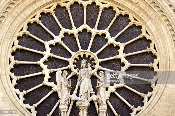 Exterior of rose window, Notre Dame Cathedral, Paris