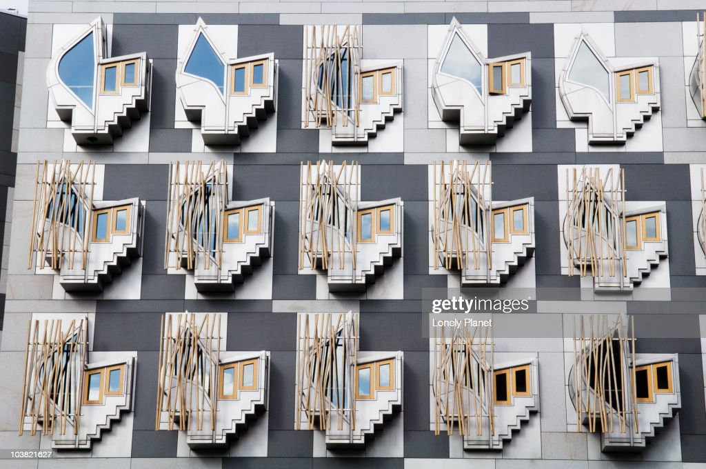 Exterior of Scottish Parliament, Holyrood. : Stock Photo
