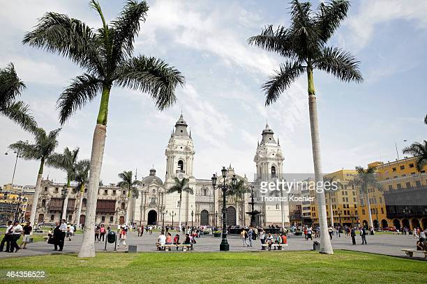 Exterior of the Basilica Cathedral of Lima on February 14 2015 in Lima Peru The cathedral is a Roman Catholic cathedral located in the Plaza Mayor of...