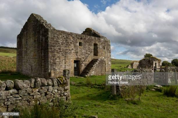 Exterior of the best preserved Grade 2 listed Bastle at Black Middens on 28th September 2017 in Gatehouse Northumberland England Bastel bastle or...
