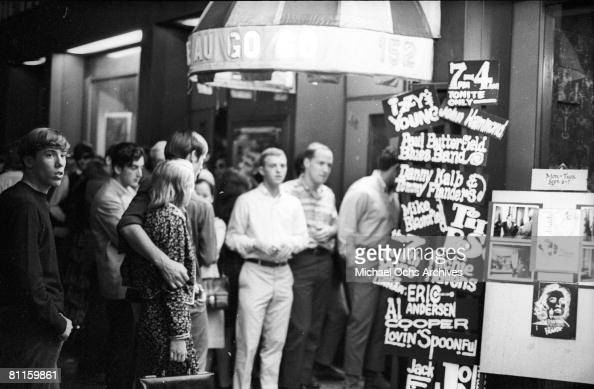 Exterior of The Cafe Au Go Go at 152 Bleecker Street in Greenwich Village in November 1965 in New York City New York