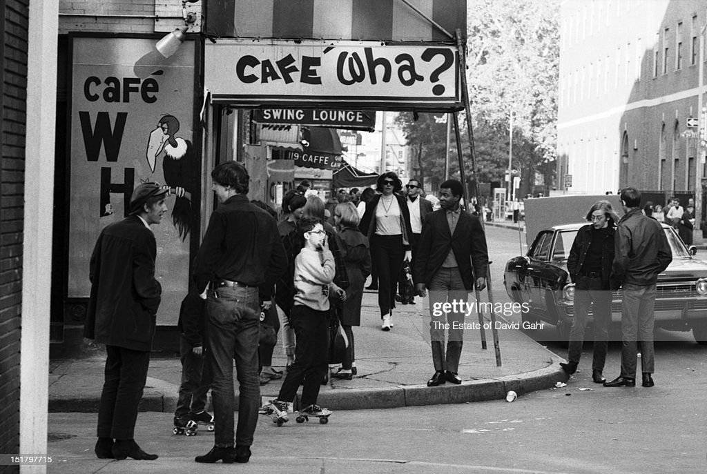 Exterior of the Cafe Wha on MacDougal Street between Bleecker Street and West 3rd Street in Greenwich Village on October 13 1965 in New York City New...