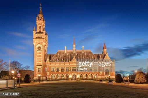 exterior of The Hague's illuminated Peace Palace