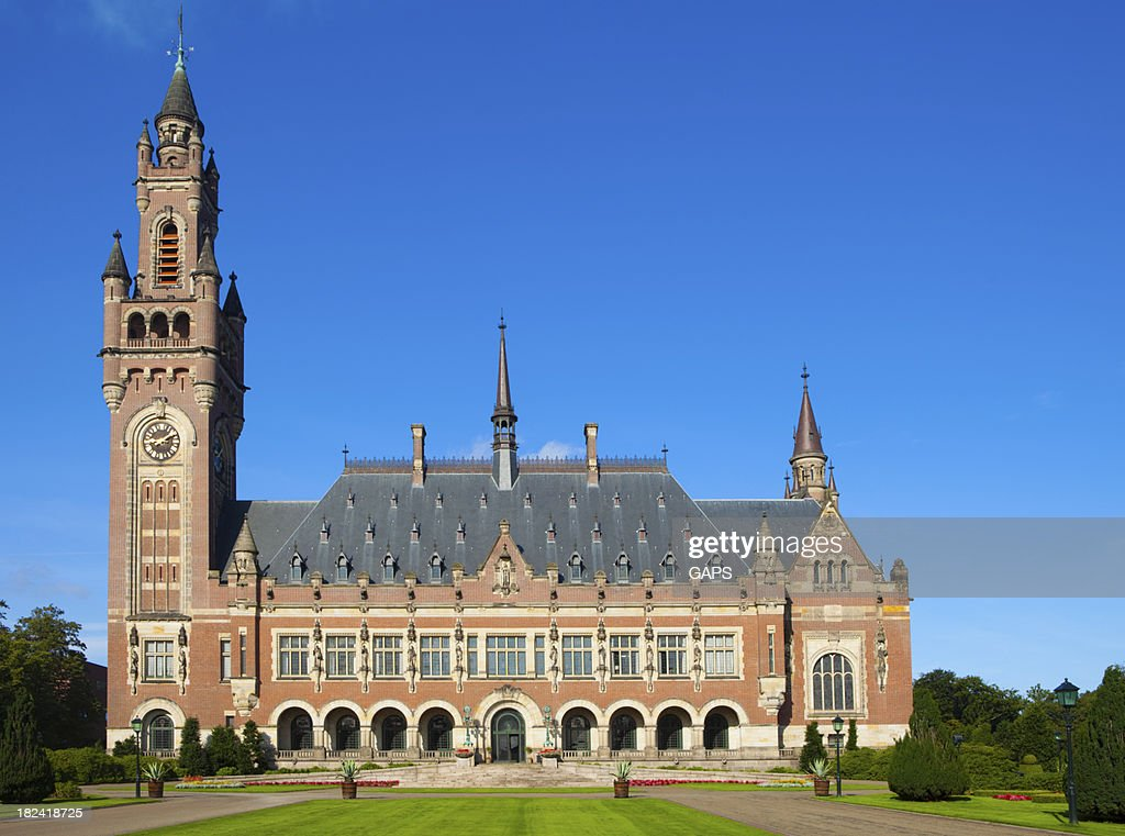 exterior of The Hague's Peace Palace against a blue sky