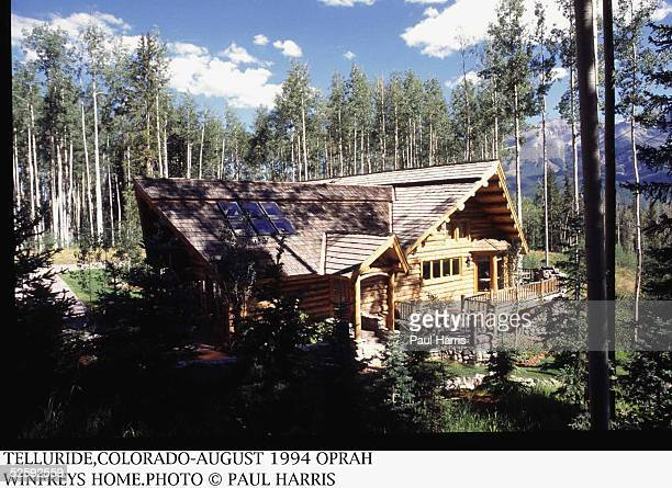 Exterior of the log cabin home owned by American talk show host and entrepreneur Oprah Winfrey with a view of the San Juan Mountains Telluride...