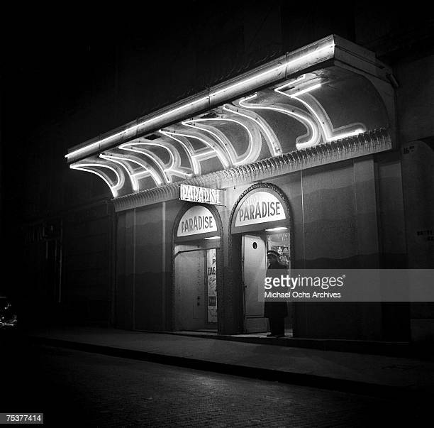 Exterior of the Paradise nightclub with the doorman out front on November 1 1948 in Paris France