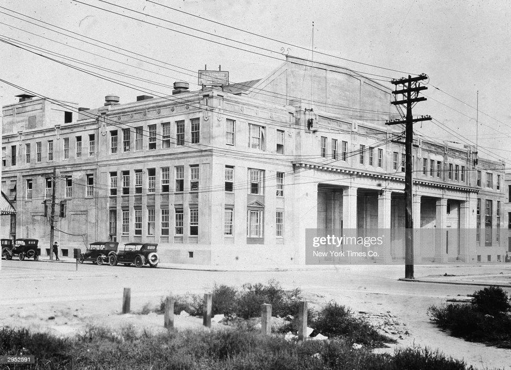 Exterior of the Paramount Film Studios on 36th Street in Astoria Queens New York City circa 1920