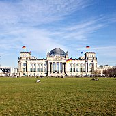 Exterior of The Reichstag against blue sky
