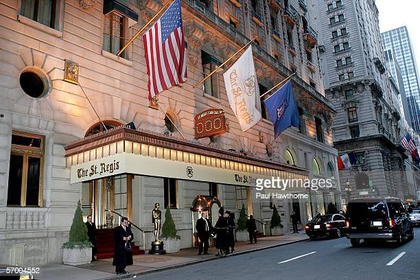 Exterior of the St Regis is seen prior to the start of the Academy of Motion Picture Arts Sciences New York Oscar Night Celebration at The St Regis...