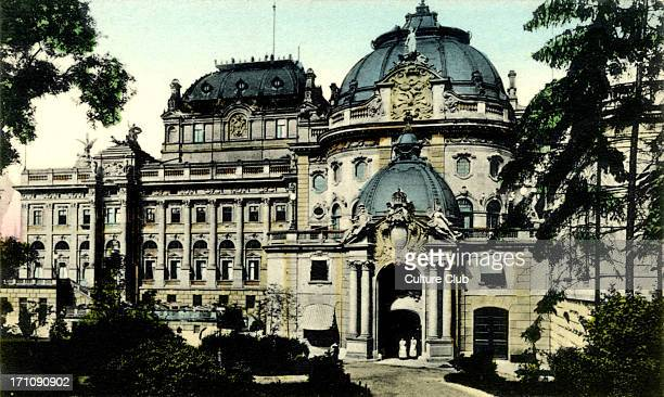 Exterior of the Theatre in Wiesbaden Hesse Germany Turn of the 20th century Colourised photographic postcard