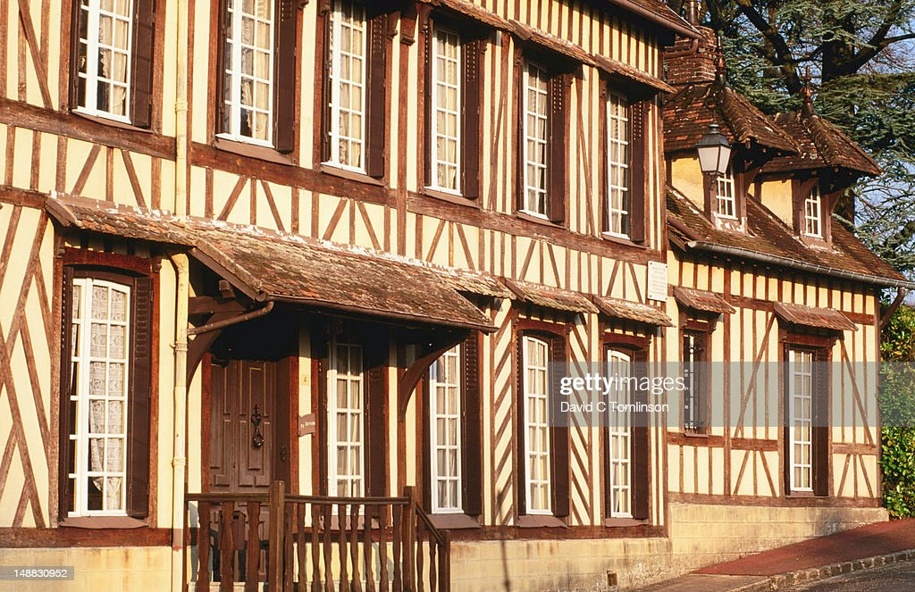 Exterior of timbered house, former home of musician Maurice Ravel, Lyons-la-Foret, Eure. : Stock Photo