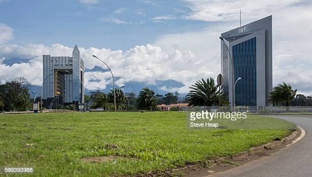 Exterior of Treasury building and Central African Bank in the capital city of Malabo, Equatorial Guinea, Africa