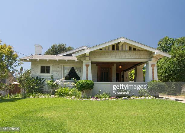 Exterior one story bungalow at Pasadena California