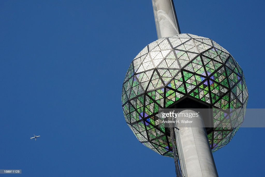 Exterior overview of the New Year's Eve Ball Relighting as a plane flies overhead at One Times Square on January 3, 2013 in New York City.