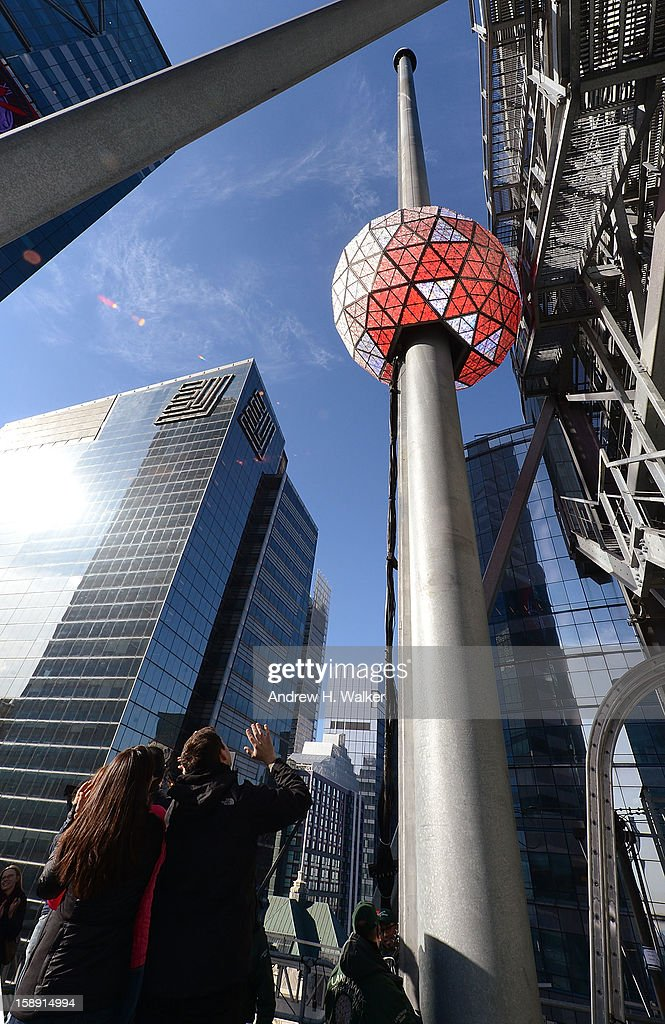 Exterior overview of the New Year's Eve Ball Relighting at One Times Square on January 3, 2013 in New York City.