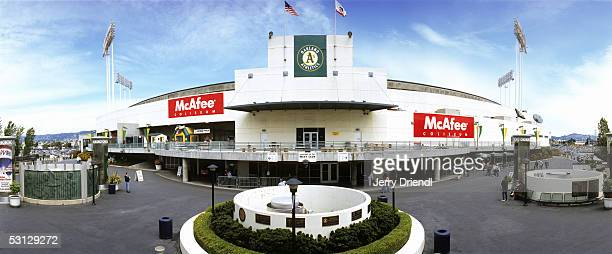 Exterior panoramic view McAfee Coliseum front entrance with monument prior to a game between the Seattle Marines and the Oakland Athletics on April...