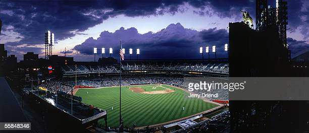 Exterior panoramic view of Comerica Park with a silhouette of the outfield scoreboard during a game between the Detroit Tigers and the San Diego...