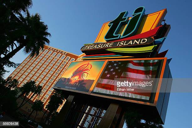 Exterior photo of the Treasure Island Hotel Casino and its marquee October 14 2005 in Las Vegas Nevada