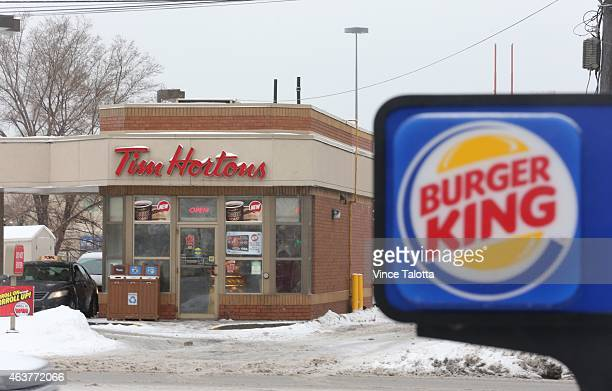 Exterior pictures of both Tim Hortons and Burger King located across the street from one another on the Queensway in Etobicoke