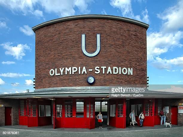 Exterior shot of Olympia Stadion against the sky