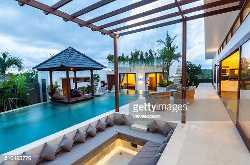 Exterior topical villa : Stock Photo
