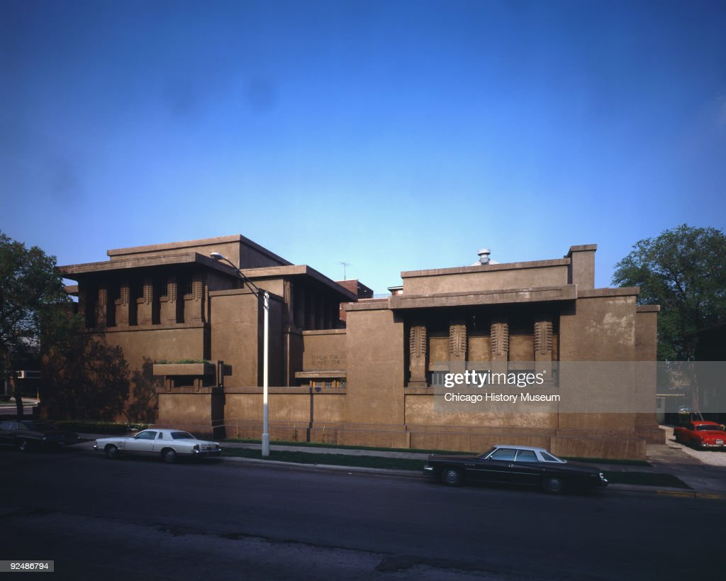 Exterior view, front elevation of the Unitarian Universalist Church, a two story concrete building at 875 Lake Street in Oak Park, IL, 1978. Also known as the Unity Temple, the church was designed by Frank Lloyd Wright.