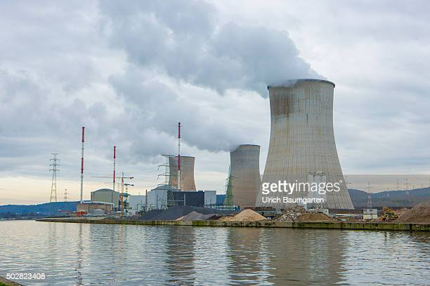 Exterior view Nuclear power station Centrale Nucleaire de Tihange at the river La Meuse near Huy
