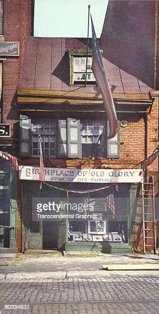 Exterior view of 239 Arch Street the Betsy Ross House known as the 'Birthplace of Old Glory' Philadelphia Pennsylvania 1900 Seamstress Ross is...
