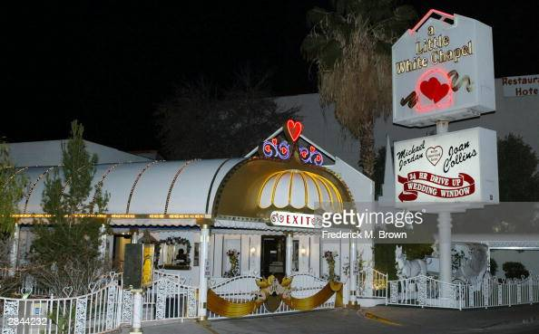 Exterior view of A Little White Chapel where recording artist Britney Spears and childhood friend Jason Allen Alexander were married according to...