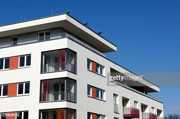 Exterior view of a new apartment house
