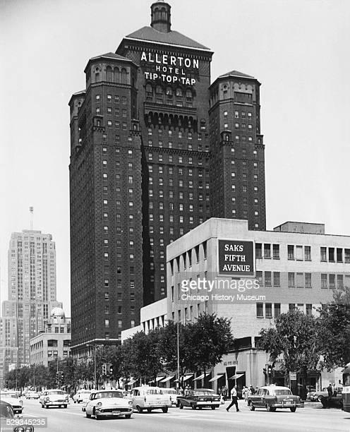 Exterior view of Allerton Hotel Saks Fifth Avenue on Michigan Avenue Chicago Illinois June 27 1958